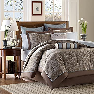 Madison Park Premium Quality Elegant Stylish Aubrey Blue 12 Piece Comforter Queen Size Set, 1 Comforter, 2 Shams, Bedskirt, 2 Pillows, 2 Euro Shams, Flat Sheet, Fitted Sheet and 2 Pillowcases