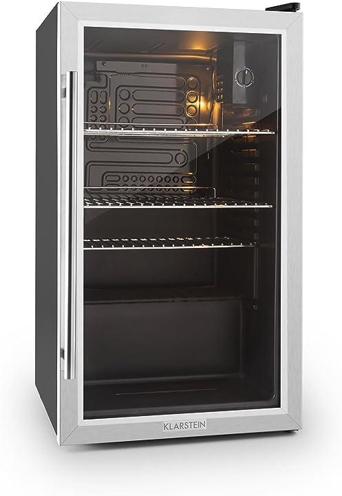 Frigorifero, mini frigo, con porta in vetro, illuminazione led, 5 livelli, solo 42 db klarstein beersafe 4260414544880