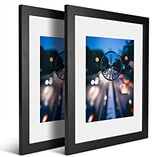 iDecorlife Premium 11x14 Black Picture Frames 2PCs - 8x10 Picture Frame with Mat or 11x14 Picture Frame Without Mat - Wall Mounting Ready Real Wood Photo Frame