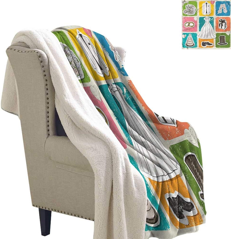 Beihai1Sun Wedding Blanket Small Quilt Wedding Theme Poster 60x32 Inch