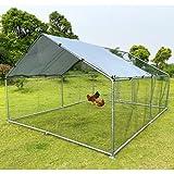 Hiwokk Large Metal Chicken Coop Walk-in Poultry Cage Chicken Run Duck...