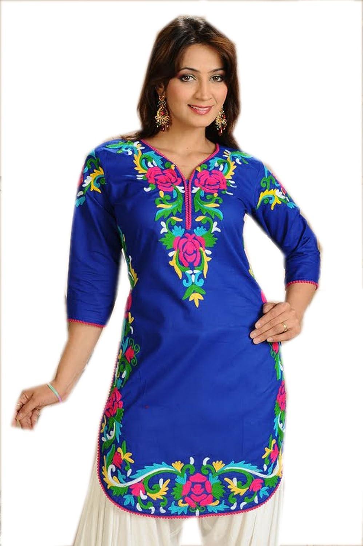 1545 Designs Women's Petite Size bluee Scoop Neck Floral Top