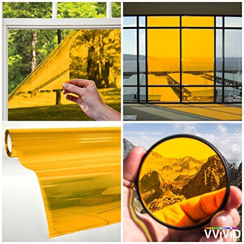 VViViD Transparent Colorful Vinyl Window Tinting Sheets (1.49ft x 5ft, Yellow)