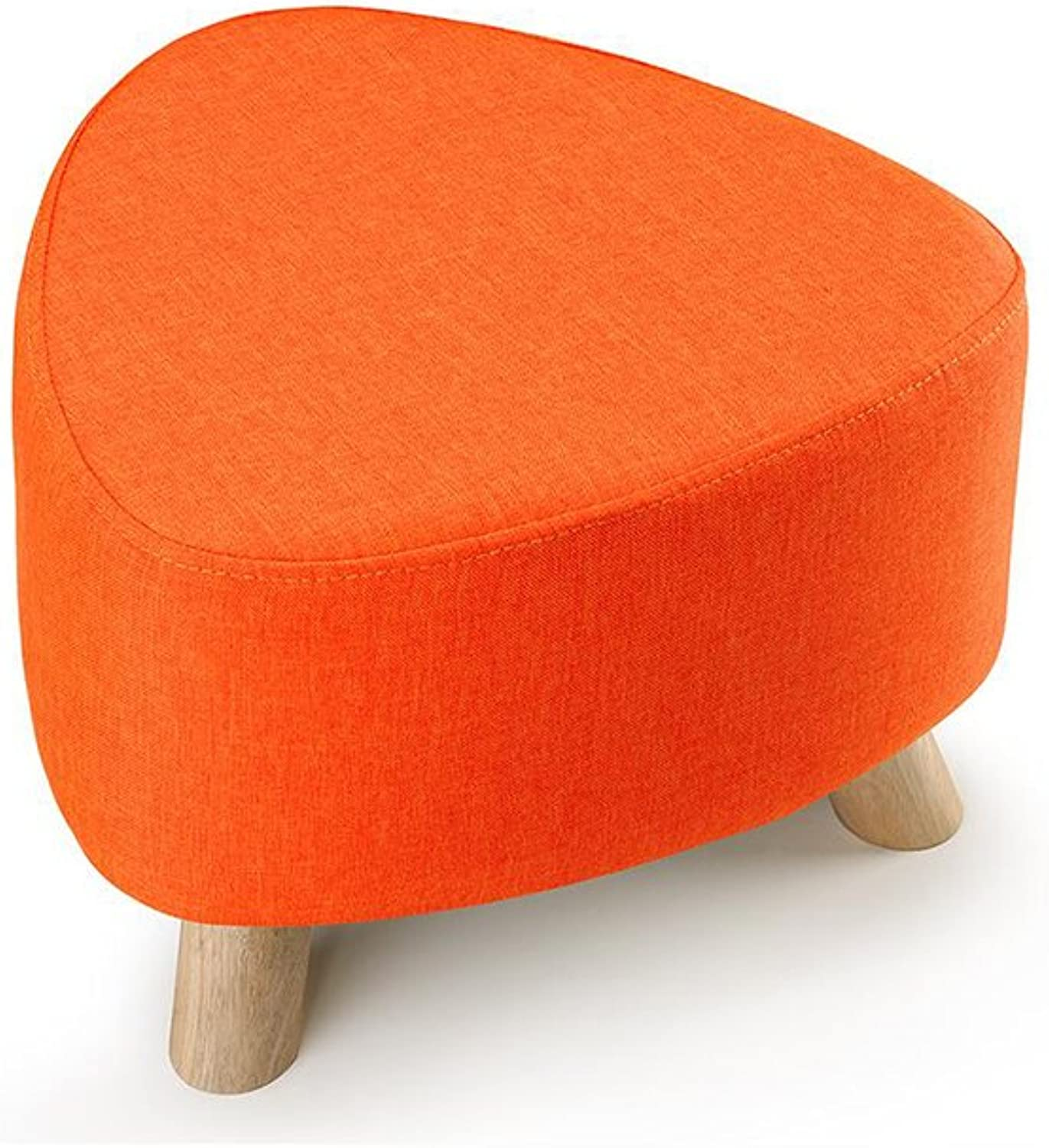 European Chair Three-Legged Small Stool Removable and Washable shoes Stool Fabric Sofa Stool Solid Wood pier (color   orange)