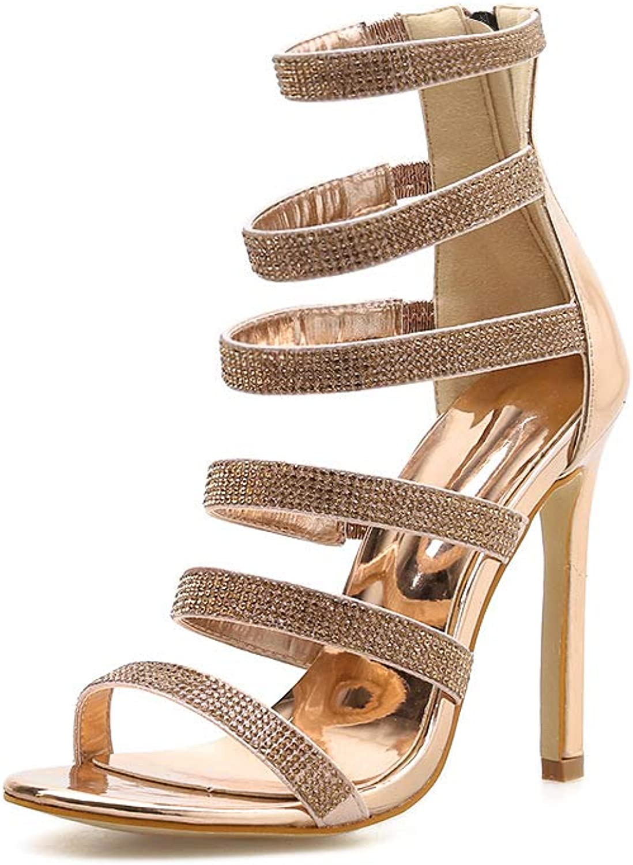 Select Women's Open Toe Ankle Strappy Crystal Rhinestone Chunky Platform High Heel Dress Sandal,gold,6.5MUS
