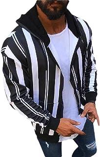 Men Hoodie Winter Cardigan Striped Zipper Hoodie Outwear Sweater Blouse Coat