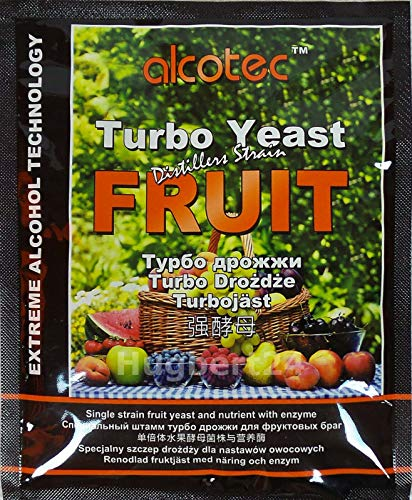 AlcoTec HUGBERT Fruit Turbo Enzym, Alkohol Gärhefe, Hefe, Brennhefe, Destillation, Obst, 1 Stück