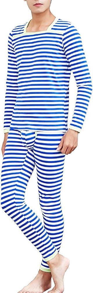 Mendove Men's Cotton Striped Thermal 2pc Set Long John Underwear
