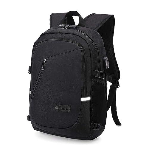 Business Laptop Rucksack Backpack, Kobwa 15.6 Inch Notebook Schulrucksack Computer Rucksäcke für Herren und Damen mit Anti-Theft, USB Charging Port und Headphone Port(Schwarz)