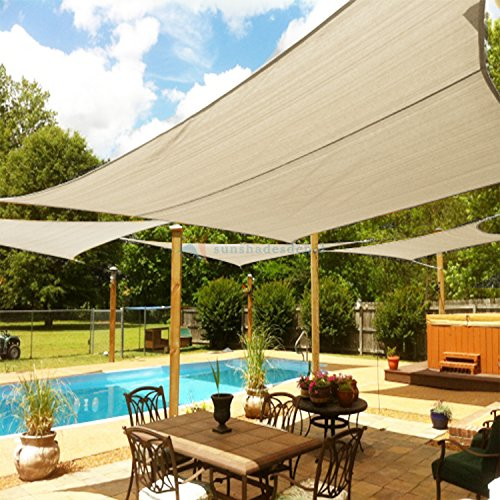 TANG Sunshades Depot 16'x16'x23' Right Triangle Waterproof Knitted Shade Sail with 6 inch Kit Curved Edge Beige 220 GSM UV Block Shade Fabric Pergola Carport Awning Canopy Replacement Awning