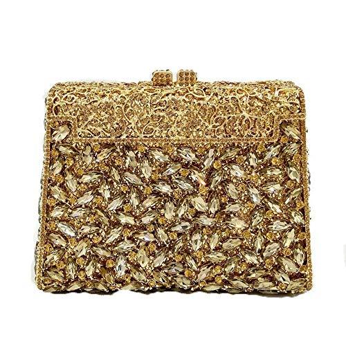 XiaoZou Damen Abendkleid mit Blume Schnalle Hochzeit Strass Diamant Abendessen Tasche Strass kristall Handtasche abendgeschenk Tasche (Color : Gold)