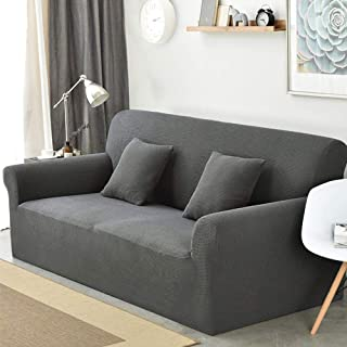 sancua Stretch Spandex Sofa Cover 3 Seat Couch Cover Non Slip Sofa Slipcover with Elastic Bottom for Living Room Furniture Protector Couch Slipcover for Dogs, Cats and Pets (Sofa, Dark Grey)