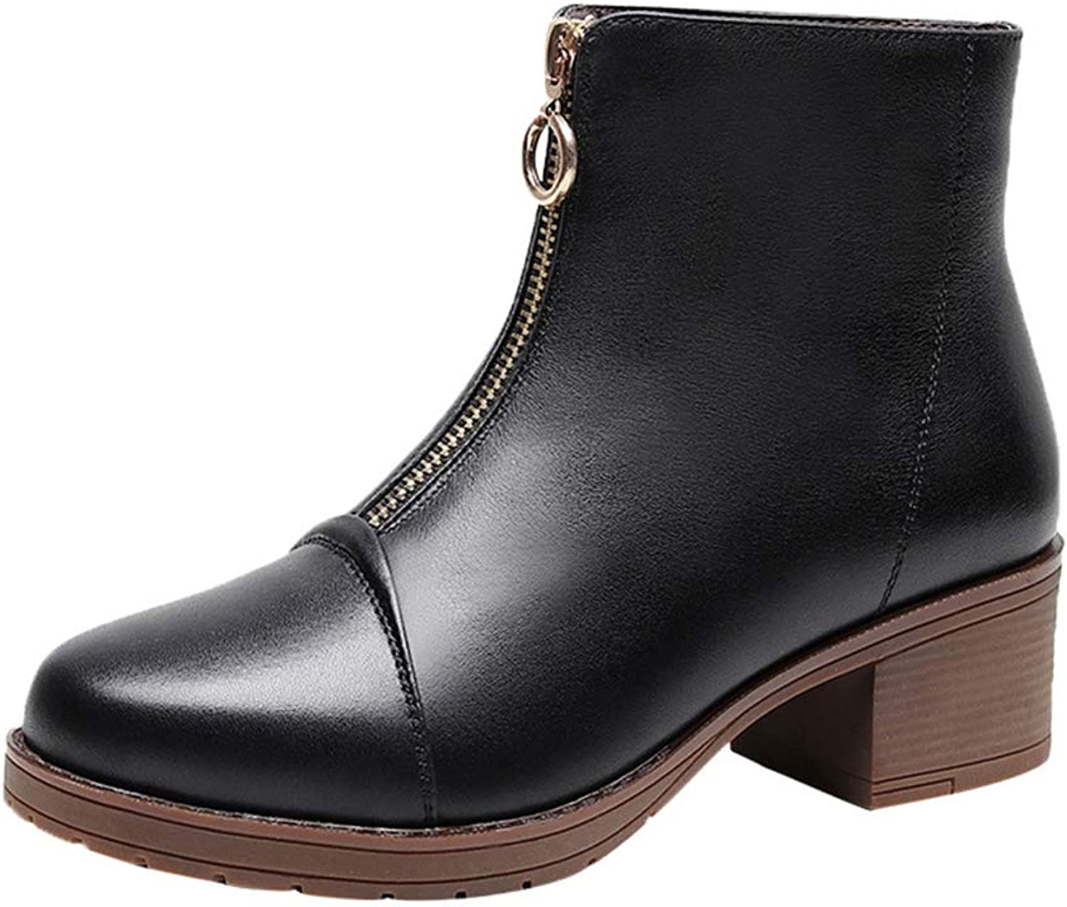 Womens Leather Boots Autumn Winter Heel shoes Funky Dress Boots Heel Ankle Boots Front Zipper Martin Boots Black (color   A, Size   42)