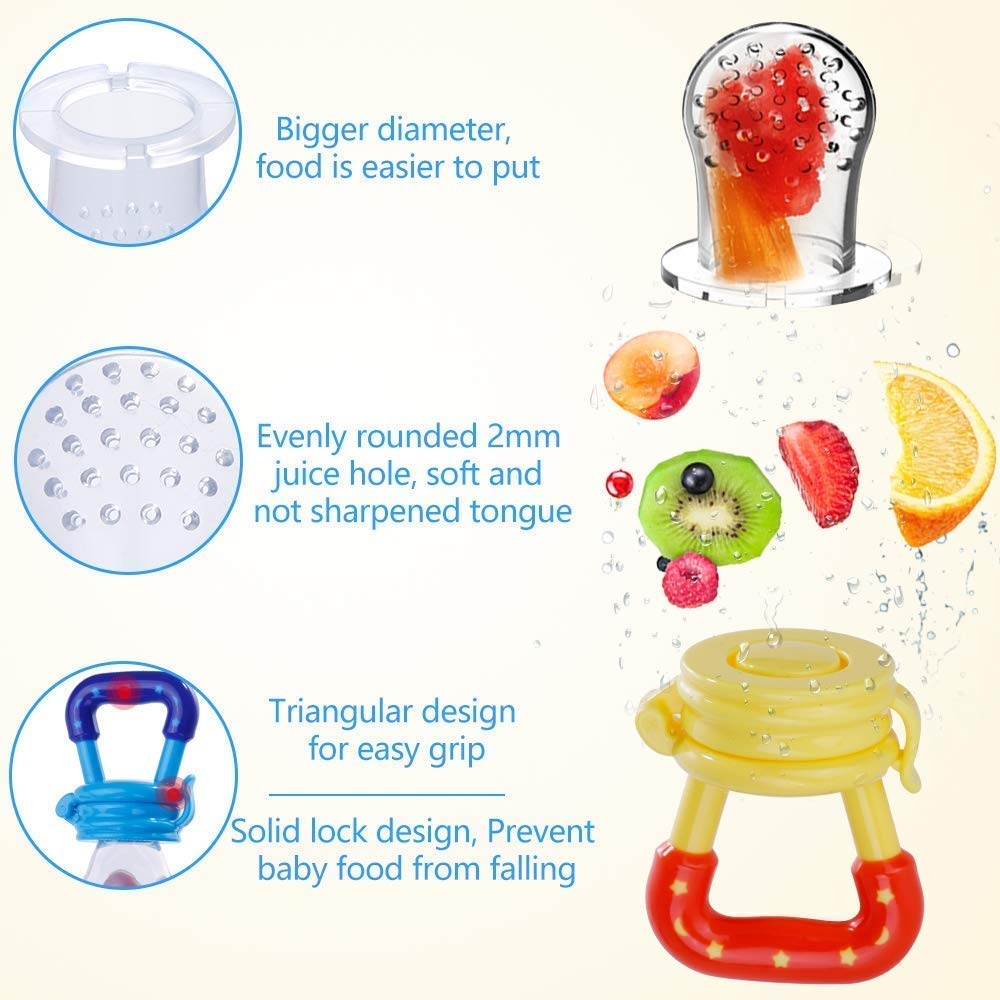 Baby Fruit Feeder Pacifier Fresh Food Feeder, Infant Fruit Teething Toy with 3 Replacement Silicone Pouches for Toddlers & Kids S M L (Yellow)