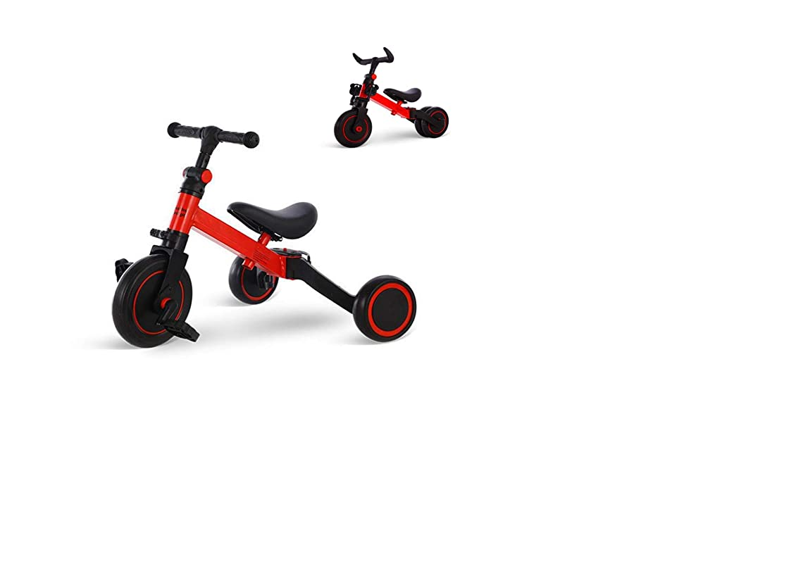 主人崇拝する大使三輪車 ミニバイク バランスバイク 折りたたみ三輪車 ペダルなし自転車 5 in 1キックバイク 1-5歳子供用 変身バイク T型ハンドル 持ち運びやすい 空気入れ不要 1-5歳幼児に向け誕生日プレゼントに最適 KIKI(赤色)