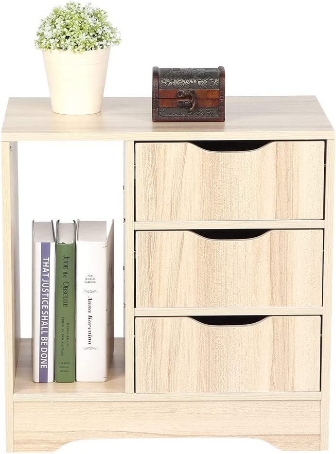 Beige Bedside Table End Table Nightstand Modern Bedside Table Night Stand Cabinet Chest Organizer Furniture Contemporary Style with 3 Storage Drawers for Living Room Bedroom