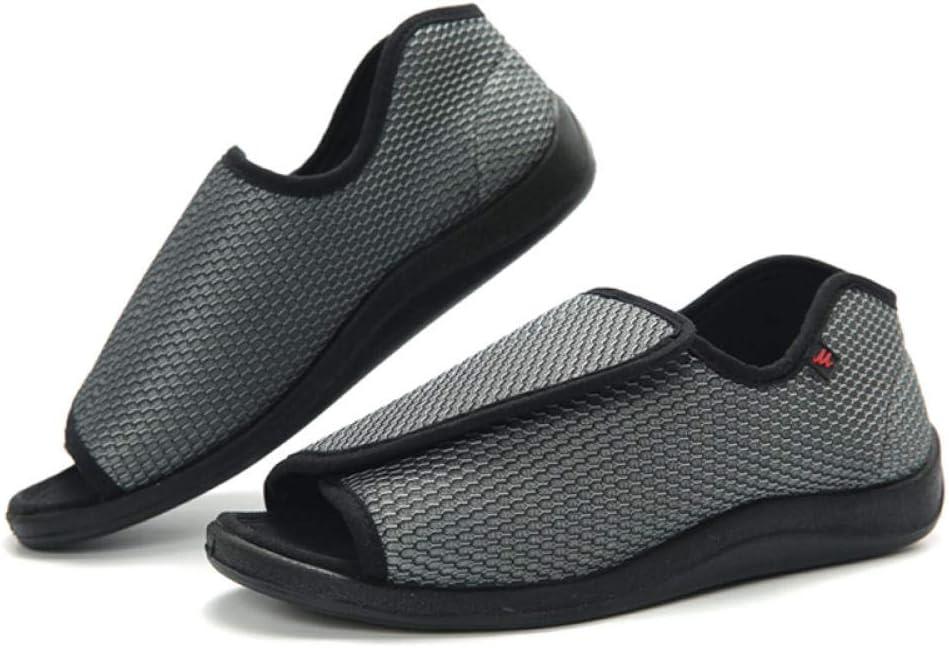 B/H Zapatos ortopédicos Ajustables,Zapatos de Velcro Ajustables, pies gordos hinchados y Zapatos Anchos de Pulgar Anchos-Gray_44,Zapatillas hinchables Ajustables