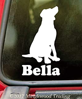 """Minglewood Trading - White - Sitting Labrador Retriever with Personalized Name 6"""" x 3.5"""" Vinyl Sticker - Lab Dog Puppy - 20 Color Options"""
