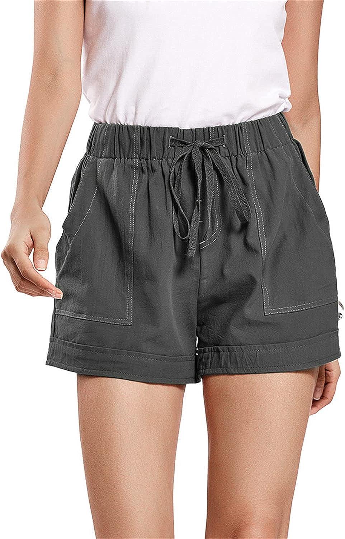 Women's Drawstring Shorts Elastic Waist High Rise Pleated Short Loose Fit Pocket Summer Casual Comfy Short Pant