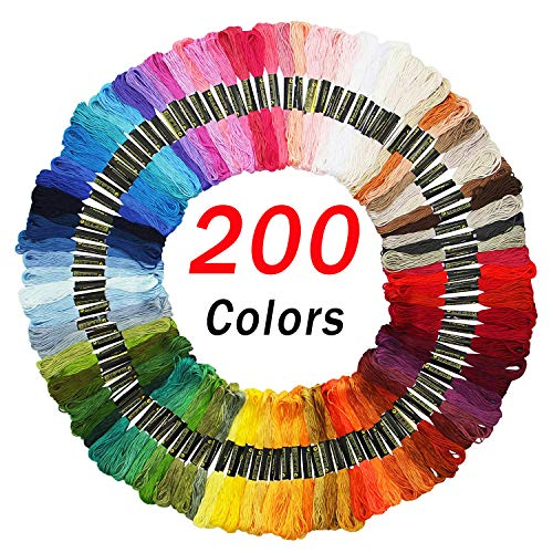 Embroidery Floss Friendship Bracelet String Cross Stitch Threads with DMC Color Numbers, 6 Strands 8.75 Yard (200 skeins)