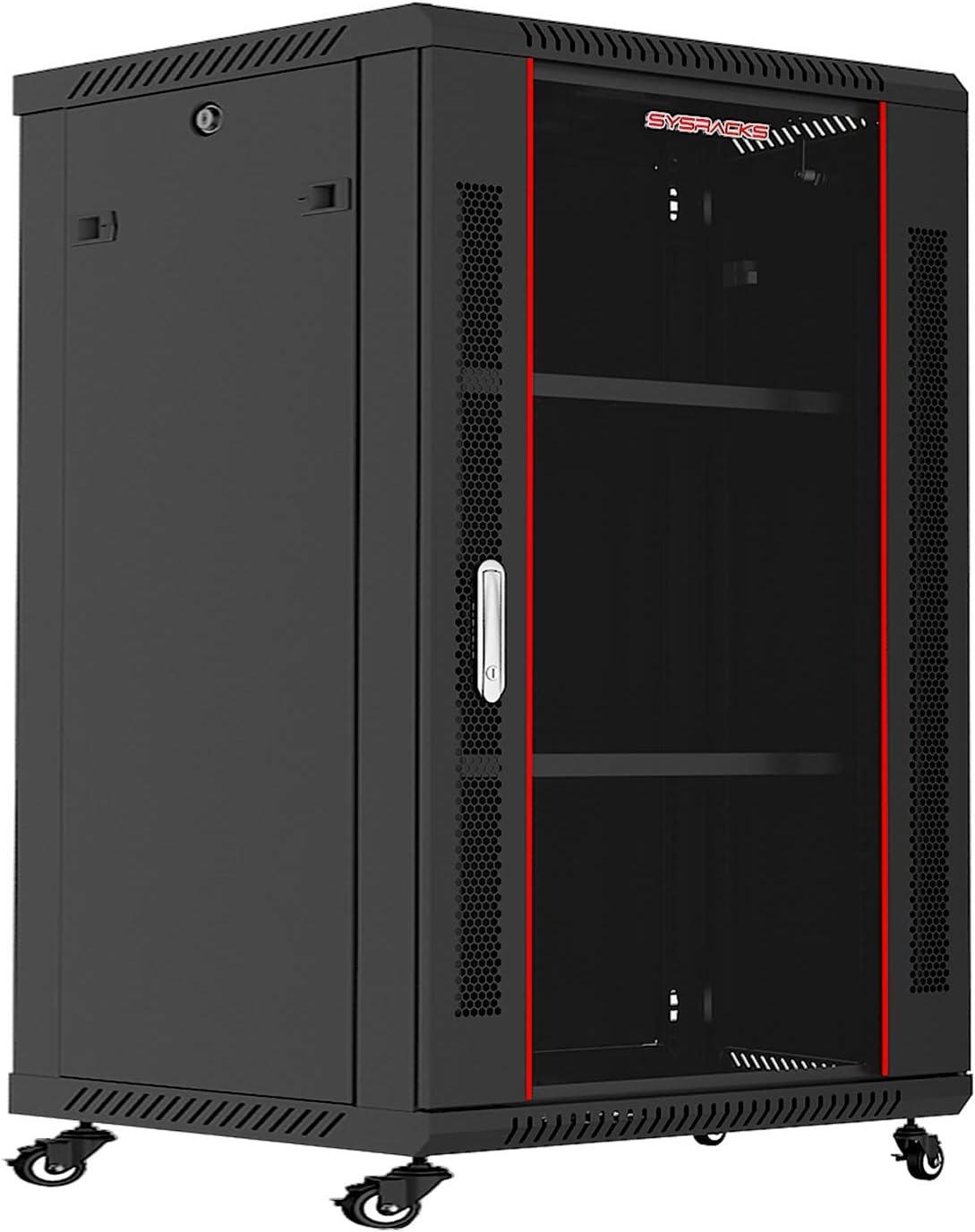 Sysracks - Server Rack - Wall Cabinet - 18 U Wall Mount Rack Enclosure with Fans - Audio Rack - Network Rack - 24 Inch Depth AV Cabinet - with Casters - PDU - Shelf - Locking Cabinet - Black