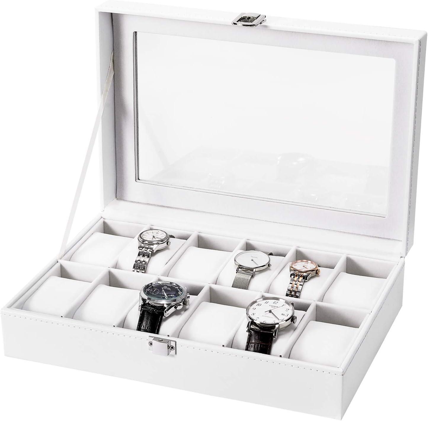 Caja de reloj Nisear, vitrina de reloj de cuero PU, elegante caja de almacenamiento de joyas con almohada acolchada de 12 compartimentos para hombres y mujeres