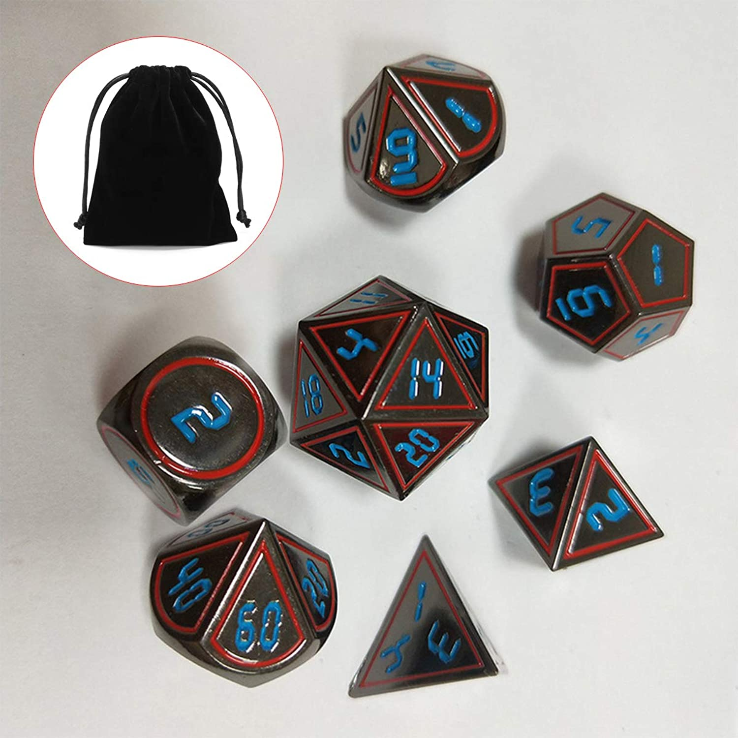 SONSAN 7Pcs Set Antique Metal Polyhedral Dices DND RPG MTG Role Playing Game Style A