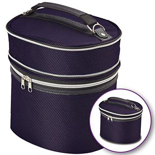 Purple Wig Travel Carrying Case - Lightweight and Portable Travelling Box - Zipper Top, Double Stitching - by Adolfo Design