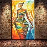 ganlanshu Arte Africano Moderno Abstracto de la Pared de la Lona de la impresión de la decoración de la Sala de Estar de la Mujer en Arte de la Pared de la Lona,Pintura sin Marco,75x150cm