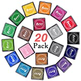 Ink Stamp Pads, Finger Ink Pads for Kids 20 Colors, Washable Craft Stamp Pad DIY Color for Rubber Stamps, Paper, Scrapbooking, Wood Fabric, Best DIY Gift for Kids by AODOOR