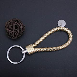 Alician Key Chain Leather Key Ring Multicolor Woven Key Ring Gold Singal