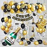 Decoraciones Cumpleaños Oro Negro, Decoraciones Fiesta Lujo con Pancarta Feliz Cumpleaños, Globos Látex Confeti Plata y Oro Negro Corona Champán, Globos Papel Aluminio para 18, 21, 30, 40 Cumpleaños
