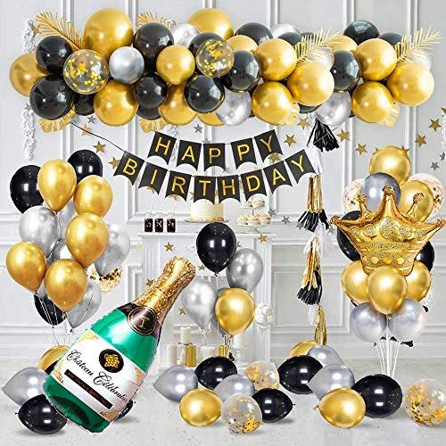 SPECOOL Decoraciones de Fiesta de Cumpleaños de Lujo con Pancarta de Feliz Cumpleaños en Oro Metálico, Globos de Confeti de Oro Negro Plateado, Globos de Lámina de Látex de Corona