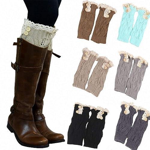 a5da0262d5c 6 Pack Women Crochet Knitted Button Lace Trim Boot Cuffs Leg Warmer Socks