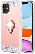 Caka Ring Case for iPhone 11 Mirror Glitter Case with Ring Holder Kickstand Diamond Makeup Bling Shiny Rhinestone Crystal Girls Women Protective Case for iPhone 11 (6.1 inch)(Rose Gold)