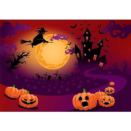 OERJU 12x10ft Happy Halloween Backdrop Haunt Castle Pumpkin Lantern Bats Full Moon Background Halloween Theme Party Decorations Newborn Baby Shower Vinyl Wallpaper Kids Adults Portrait Photo Props