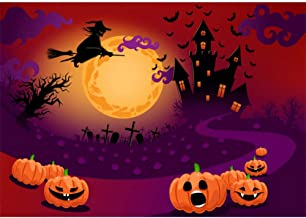 Allenjoy Halloween Pumpkin Castle Backdrop for Photography Soft Fabric Horrible Witch Moonlight Birthday Background 7x5ft for Boys Girls Portrait Trick or Treat Party Banner Home Decors Photo Props