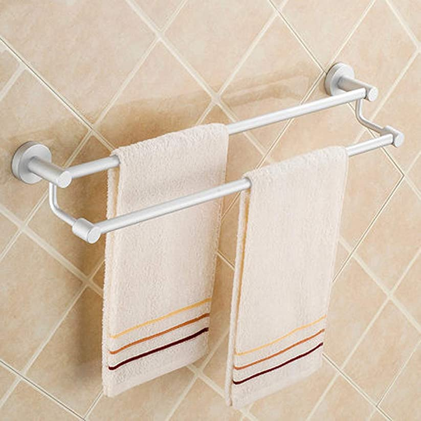 エミュレーションずんぐりした喜劇二重タオル棒60CMスペースアルミニウムタオル掛けの浴室ハードウェア付属品の壁に取り付けられたタオル掛け