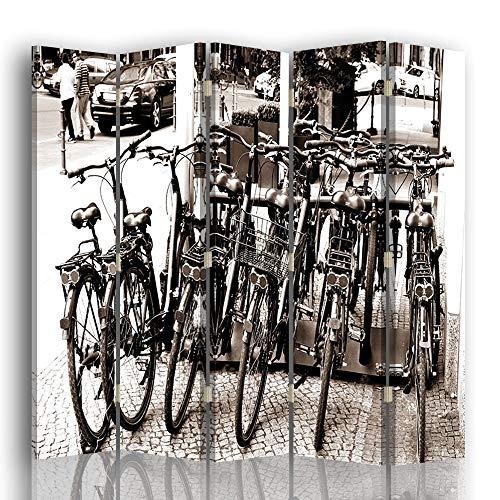 LegendArte Paravento Raumteiler für Fahrräder, Weiß und Schwarz 180 x 180 (5 Panele)