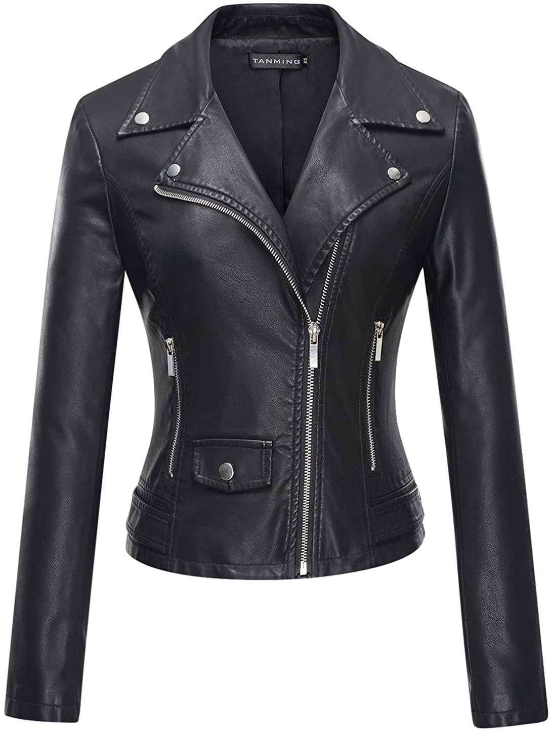 Tanming Women's Faux Leather Moto Biker Short Coat Jacket