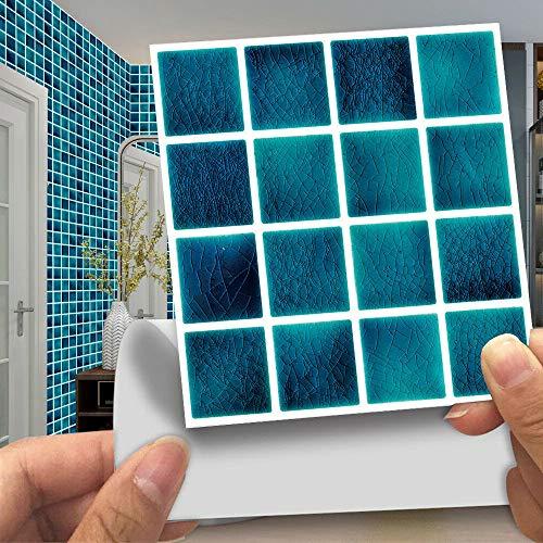 Pegatinas de azulejos de mosaico, 30 unidades, autoadhesivas, azulejos de pared, impermeable, papel para cuarto de baño y cocina (60 unidades de 10 x 10 cm, MSC063)