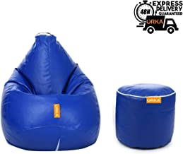 ORKA Express Classic XXXL Bean Bag with Footstool Filled with Beans - Blue