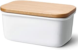 Sweese 301.101 Large Butter Dish - Porcelain Keeper with Beech Wooden Lid, Perfect for 2 Sticks of Butter, White
