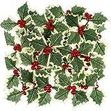 30 Piezas de Flores Artificiales con Hojas Verdes para decoración de Navidad para Tartas, decoración de Bodas, Fiestas