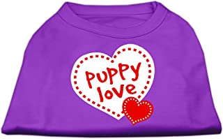 Mirage Pet Products 14-Inch Puppy Love Screen Print Shirt for Pets, Large, Purple