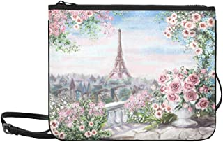 Oil Painting Paris Eiffel Tower Abd Flowers Pattern Custom High-grade Nylon Slim Clutch Bag Cross-body Bag Shoulder Bag