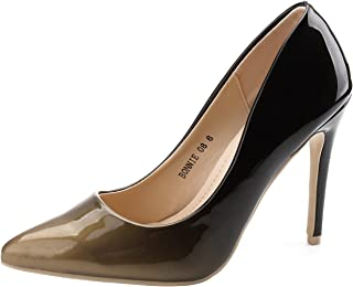 Mila Lady BONNIE08 Women Patent Contrast Color Pointed Toe Pumps Stilettos Heel Dress Shoes