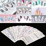 12feuilles Autocollant Motif coloré ongles Vernis à ongles Wraps à ongles Eau Art Nail Art