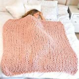 Chunky Knit Blanket - Cozy Throw Blanket for Bed (40x60) - Soft Gray Throw Blankets - Chunky Knit Chenille Throw Blanket - Blankets and Throws for Sofa - Large Throw Blanket (Blush Pink)