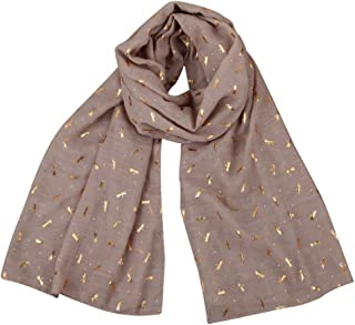 Long Women's Scarf Gold Foil Dragonfly Print Shawl Pashmina Stole Scarves